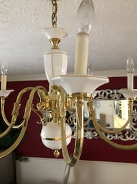 White and brass-colored uplight chandelier Waldorf, 20601