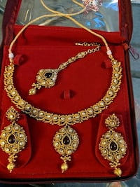 Bridal jewellery..red and gold..gold plated..