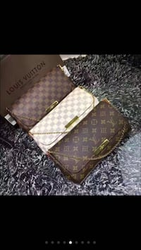 two brown and one white Louis Vuitton sling bags