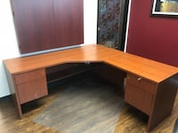 brown wooden sectional desk with hutch San Diego