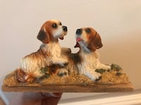 two white-and-brown puppy ceramic table decor Las Vegas, 89149