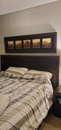 Dark brown solid wood queen size bed frame