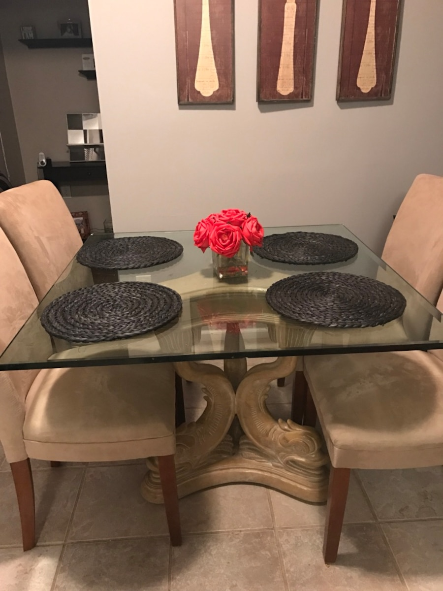 Used glass dining table triple dolphin base in brick for Table 6 in as 3725