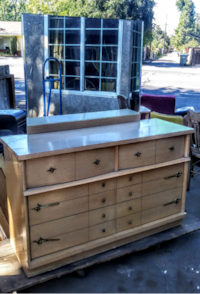 1950s Formica All Wooden Dresser With Mirror Modesto