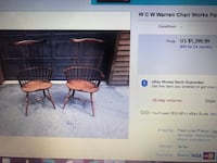 "Windsor Arm Chairs -2-""Warren Chair Works"" Warren, 44484"