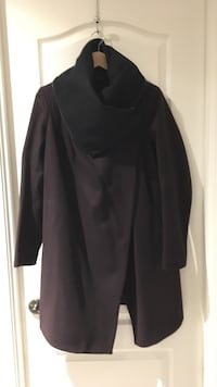 All Saints coat - black and burgundy size 8 Vaughan, L6A