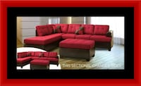 Red sectional with ottoman Temple Hills