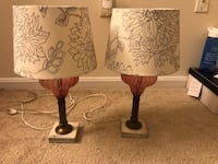 two brown wooden base white floral table lamps Arlington, 22201