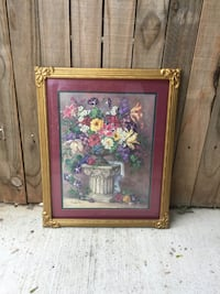 brown wooden framed painting of flowers Amarillo, 79121