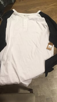 White and black button-up long sleeve
