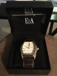 women's brown leather strap gold and white face e|a analog watch