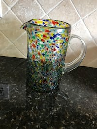 Glass confetti pitcher