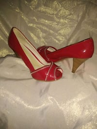Jessica Simpson Red Gloss w silver lining peep toe Conyers, 30094