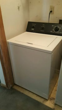 white and black front-load clothes washer