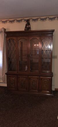 Brown wooden hutch cabinet South Hackensack, 07606