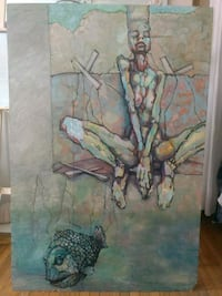 Painting oil on wood - marionette girl and fish Toronto, M6J 1G1