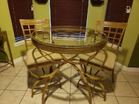 glass table set with matching stand Jacksonville