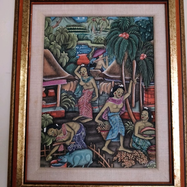 Traditional Balinese Paintings, gold wood frame 7939252b-2abd-4ebf-b3cc-58d3ee06e693