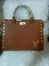 brown leather 2-way handbag 2268 mi