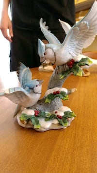 two white-and-blue bird ceramic figurines Logansport, 46947
