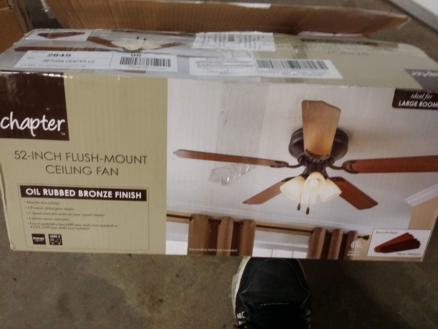 Used chapter 52 inch flush mount ceiling fan oil rubbed bronze used chapter 52 inch flush mount ceiling fan oil rubbed bronze finish box in huntington mozeypictures Choice Image