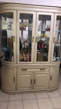 white wooden framed glass china cabinet 544 km
