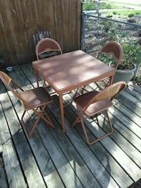 Vintage 1950's Durham Card Table with 4 Chairs