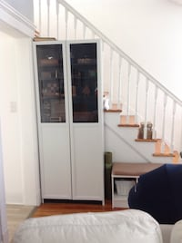 """Ikea BILLY Bookcase with panel/glass doors, black-brown, 31 1/2x11 3/4x79 1/2 """" Highland Park, 08904"""