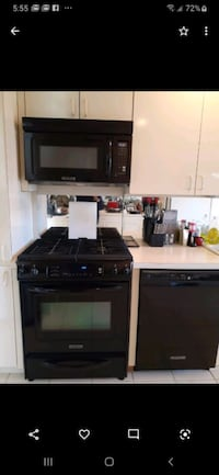Gas stove. microwave and dishwasher