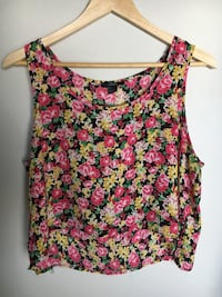 red, yellow, and green floral boat-neck tank top