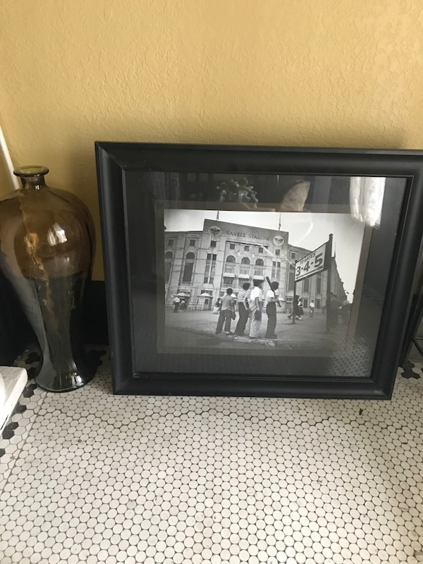 Used Grayscale Photo Of Yankee Stadium With Black Wooden Frame For