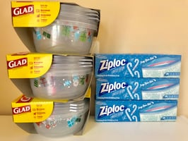 9 Glad Food Storage Containers + 3 Boxes Ziploc Freezer Gallon Bags