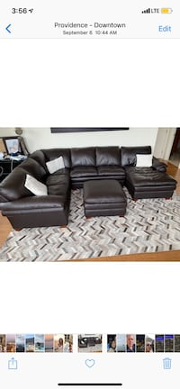 Leather set couch with ottoman