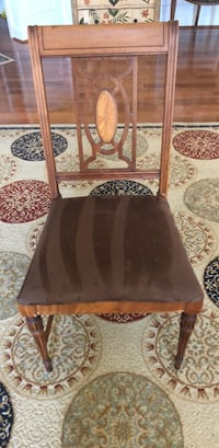 Brown wooden windsor chair with black leather pad Leesburg, 20175