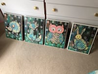 Set of 4 woodland animal nursery art pictures Woodstock, 21163