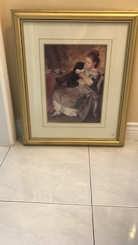 Gold wooden framed painting of woman Vaughan, L4L