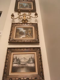 Three oil paintings with chandelier Toronto, M6C 2J9