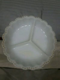 Vintage milky white 3 section plate w/gold accent  Sebring, 33870