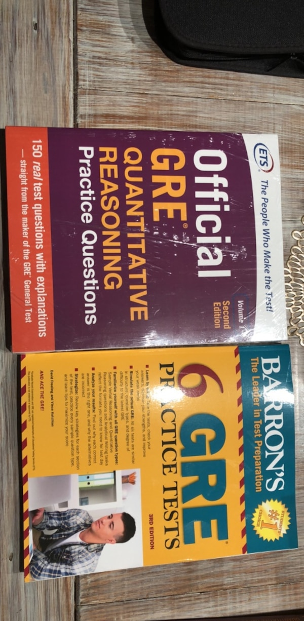 3 NEW GRE BOOKS! ETS OFFICIAL QUANTITATIVE, VERBAL REASONING PLUS BARRONS 6  practice test
