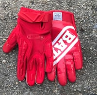 Red and white receivers glove made by Battle Forest Heights, 20745