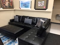 Brand New Black Sectional w/ Ottoman Norfolk, 23502