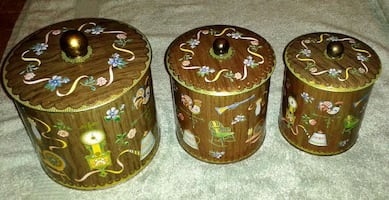 3 Kitchen Tin Canisters