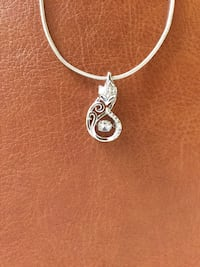 "Sterling Silver Foxy pendant necklace with crystals / 18 "" inch long Silver chain  925 stamped Alexandria, 22311"