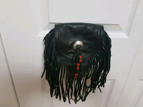 Black Leather Motorcycle Purse