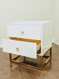 New lacquer white and gold legs nightstand