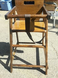 brown wooden high chair
