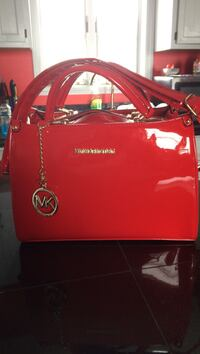 red Michael Kors velvet shoulder bag
