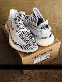 pair of Zebra Adidas Yeezy Boost 350 V2 with box Maywood, 60153