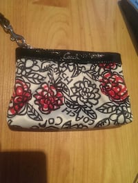 black and white floral wristlet