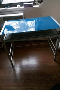 Desk blue glass tint
